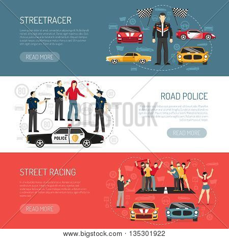 Street racing flat horizontal banners set with information about participants and road police abstract isolated vector illustration