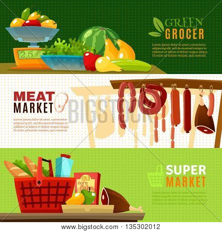 Market horizontal banners set with greengrocery and supermarket cartoon isolated vector illustration