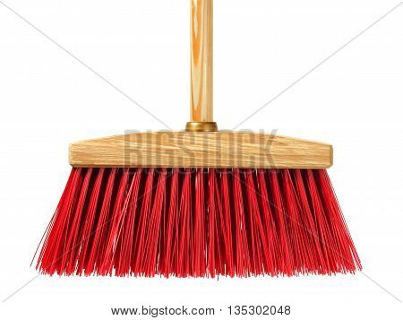 Big wooden broom isolated on white background