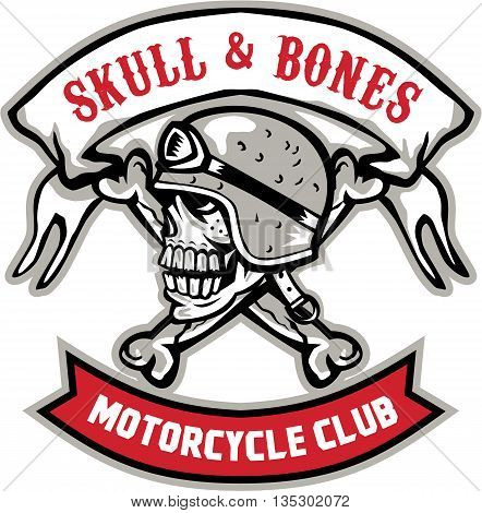 Illustration of a skull looking to the side wearing bike helmet with bones at the back and the words Skull & Bnes Motorcycle Club inside ribbon set on isolated white background done in retro style.