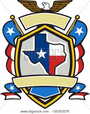 Illustration of coat of arms style emblem of Texas state map draped in its state flag with american eagle up on top and unfurled Texan lone star flags on side set inside crest shield done in retro style.