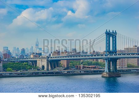 Fantastic Shot Of The Manhattan Bridge With Nyc Skyscrapers In The Background