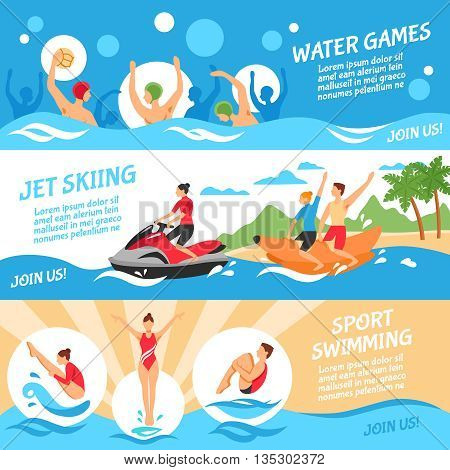 Water Sport Flat Concept. Water Sport Horizontal Banners. Water Sport Vector Illustration. Water Sport Isolated Set. Water Sport Design Symbols.