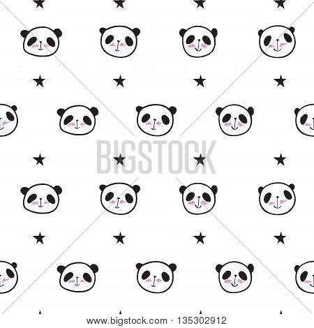 Seamless pattern with cute pandas, hearts and stars. Wrapping paper, cloth. Hand drawing. Vector