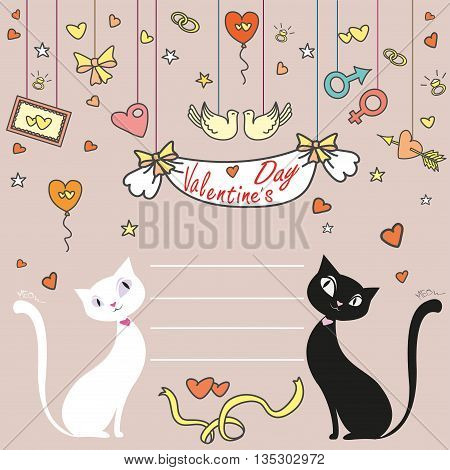 Greeting Card, Valentine's Day, black and white cat, vector illustration Doodle.