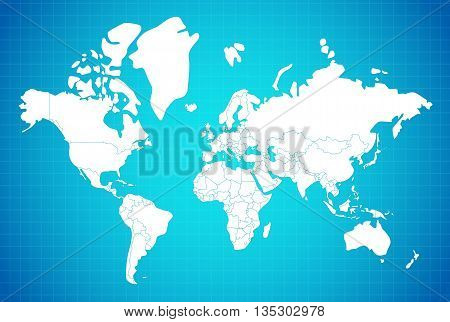 Earth map linear composition with country borders white on blue gradient background vector illustration