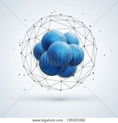Abstract molecular structure with blue particles and wireframe mesh. Vector illustration. Scientific nanotechnology background.