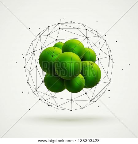 Abstract molecular structure with green particles group and wireframe mesh. Vector illustration. Scientific background.