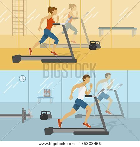 Male and female gyms design with man and woman on treadmill reflections in mirrors isolated vector illustration