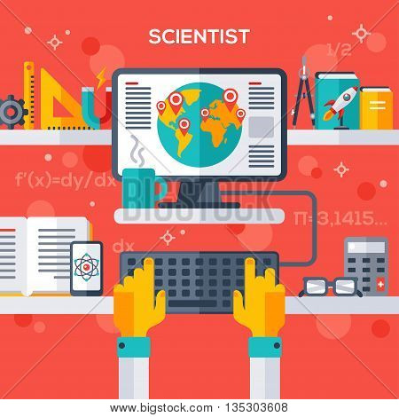 Flat design vector illustration concept of scientist workplace. Hand typing on keyboard, pc monitor with analytical research.