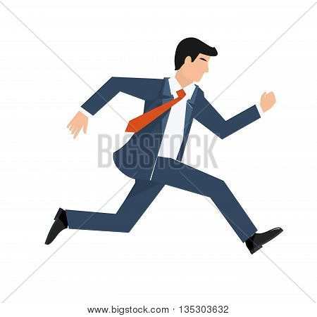 Flat style vector illustration of a businessman running, business concept.