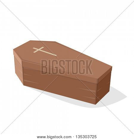 comic illustration of a coffin