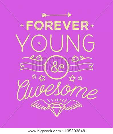 Trendy colorful typography with hand-drawn elements for t-shirt print, poster, card.