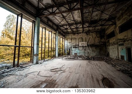 gym in abandoned Pripyat school, Chernobyl, Ukraine