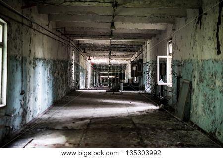 abandoned gloomy building near duga radar in Pripyat, Chernobyl