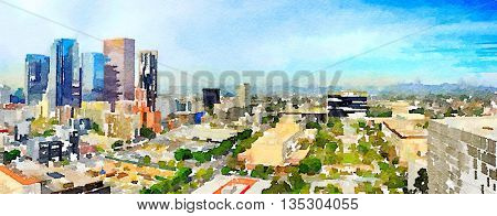 Nice panorama Painting Of Downtown Los Angeles