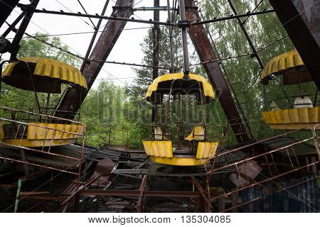 rusty ferris wheel in Pripyat park, Chernobyl, Ukraine