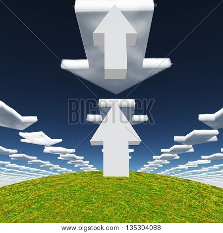 Arrows point up and forward 3D Render