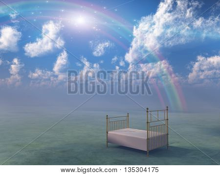 Bed in fantasy landscape 3D Render