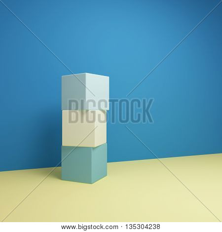 Abstract geometric image with cubes and using color scheme.. 3D illustration.