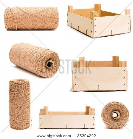 Collection of different wooden empty box isolated and roll of twine isolated on white background