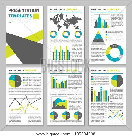 Infographic business presentation template text and graphics of various types and colors vector illustration
