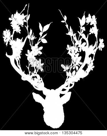 illustration with deer head with blossoming tree branches between antlers isolated on black background