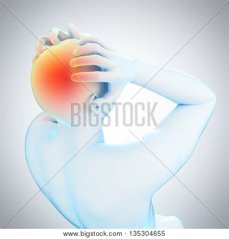 3d rendered, medically accurate 3d illustration of headache/ migraine