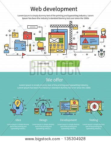 Two colored web development banner set with titles web development we offer and buttons at the bottom learn more and order now vector illustration