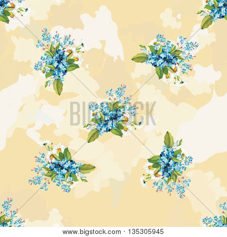 Seamless floral pattern with forget-me-not Vector Illustration EPS8