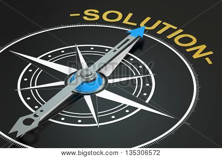 Solution compass concept 3D rendering on black background