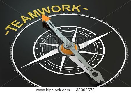 Teamwork compass concept 3D rendering on black background