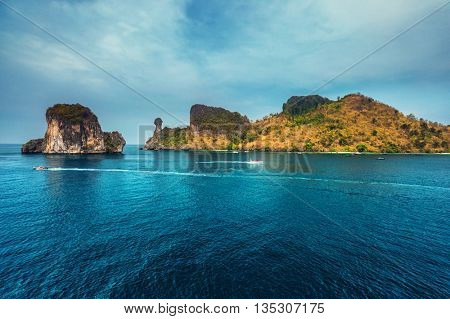 View of the rocky island named Chicken in Andaman sea, Thailand