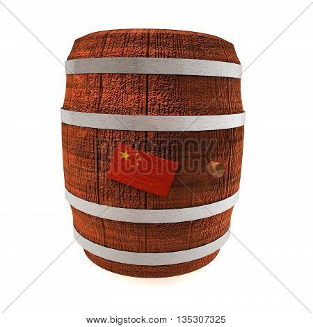 Barrel Of Wine With China Flag