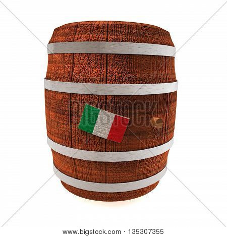 Barrel of wine with Italy flag isolated over white 3d rendering