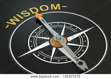 Wisdom compass concept 3D rendering on black background