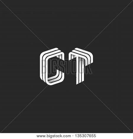 Isometric Monogram Initials Ct Logo For Business Card, Design Element Decoration Combination Group L
