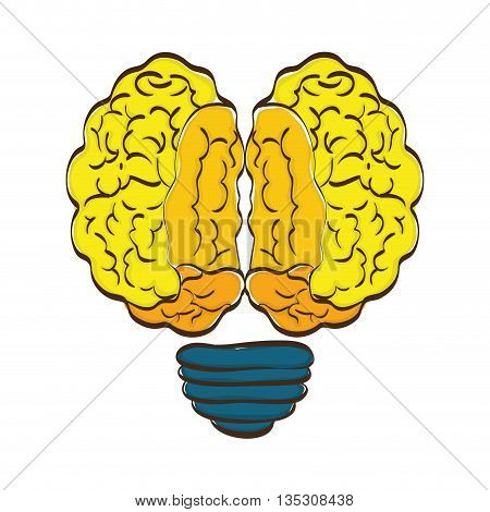 Brain concept represented by Human organ and bulb  icon over flat and isolated background