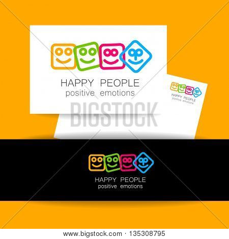 Happy people logo template. Concept identity presentation design for company. Positive emotions, happy games, entertainment sphere, unity emblem,  society fund and etc. Vector.
