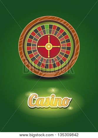 Casino roulette wheel. Vector illustration. Gambling poster