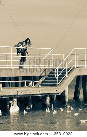 Man Hiker With Backpack On Pier, Sea Landscape