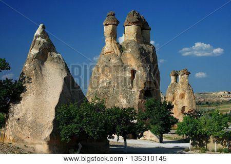 Rock formations known as fairy chimneys in Cappadocia, Turkey.
