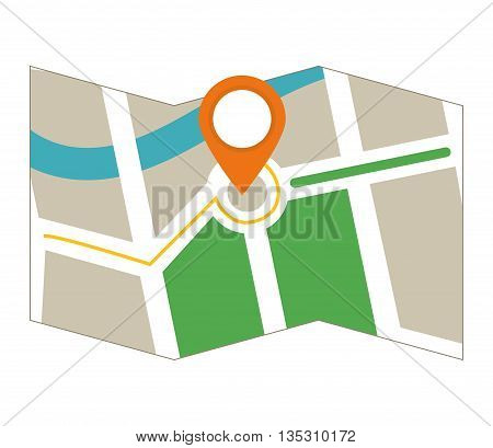 GPS concept represented by map icon over flat and isolated background