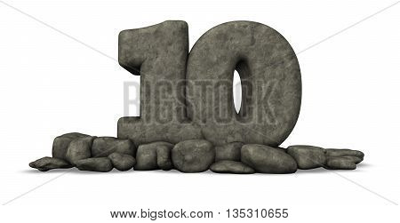 stone number ten on white background - 3d rendering