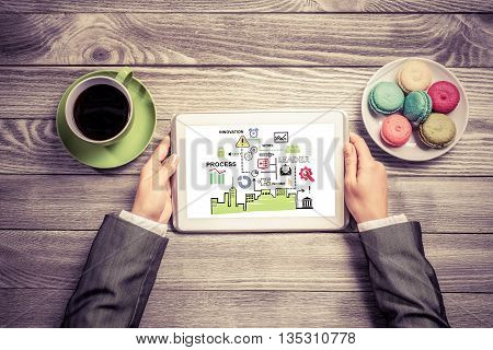 Top view of female hands and business strategy in tablet