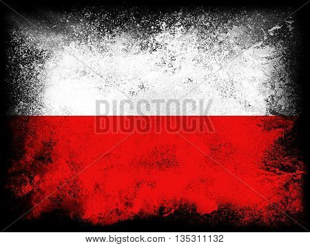 Powder paint exploding in colors of Poland flag isolated on black background. Abstract particles explosion of colorful dust.