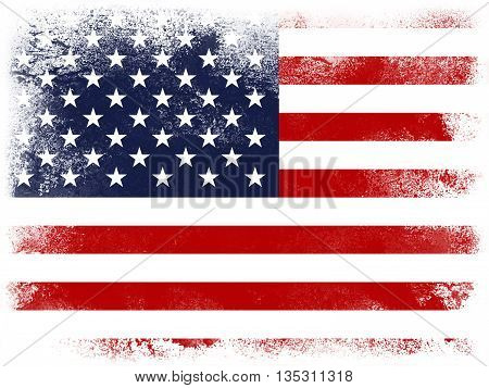 Powder paint exploding in colors of United States flag isolated on white background. Abstract particles explosion of colorful dust.