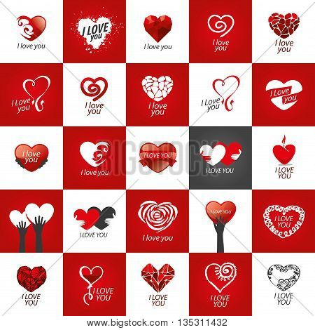 Pattern abstract vector heart logo. Declaration of love