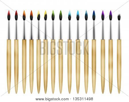 Set of art brushes with paint stains on white background