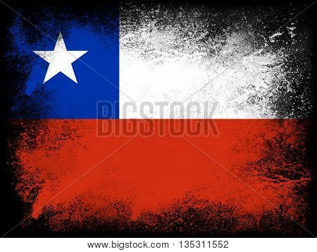 Powder paint exploding in colors of Chile flag isolated on black background. Abstract particles explosion of colorful dust.